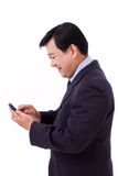 Happy businessman with smartphone application Royalty Free Stock Photo