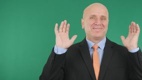 Happy Businessman Smile and Make With Both Hands Up Happy Gestures. stock image