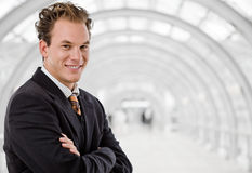 Happy businessman smiling royalty free stock photo
