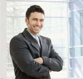 Happy businessman smiling Royalty Free Stock Photos