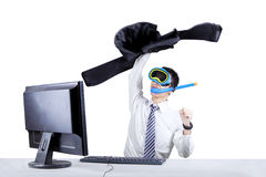 Happy businessman with snorkeling mask Royalty Free Stock Photo