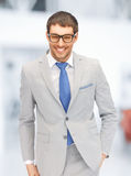 Happy businessman in spectacles Royalty Free Stock Images