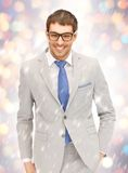 Happy businessman in spectacles Royalty Free Stock Photography