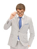 Happy businessman in spectacles Stock Photography