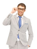Happy businessman in spectacles Royalty Free Stock Photos