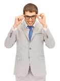 Happy businessman in spectacles Royalty Free Stock Photo