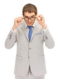 Happy businessman in spectacles Stock Images