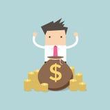 Happy Businessman stand behind money bag. Vector illustration Stock Photos