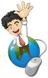 A happy businessman standing above the globe Stock Photography