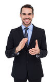 Happy businessman standing and applauding Royalty Free Stock Photos