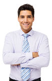 Happy Businessman Standing Arms Crossed Stock Photo
