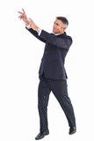Happy businessman standing with arms up Royalty Free Stock Images