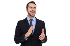 Happy businessman standing and clapping Royalty Free Stock Image