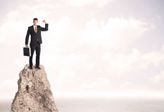 Happy businessman standing on cliff Royalty Free Stock Photos