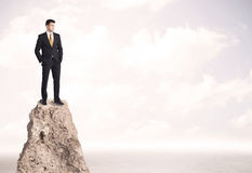 Happy businessman standing on cliff. Successful sales person with brief case standing on top of a mountain cliff edge looking above the landscape between the stock images