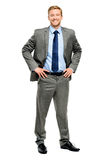 Happy businessman standing isolated on white Stock Photos