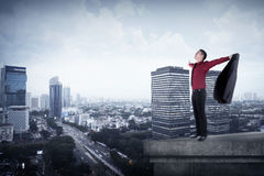 Happy businessman standing on the rooftop Stock Image