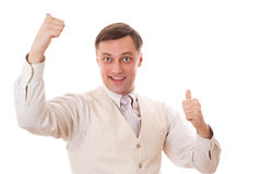 Happy businessman standing on white Stock Photos