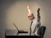 Happy businessman. Successful businessman expressing his joy royalty free stock photography