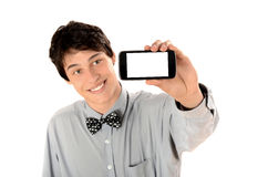 Happy businessman taking a selfie photo with his smart phone. Royalty Free Stock Photos