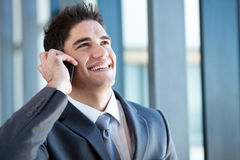 Happy businessman talking Stock Image