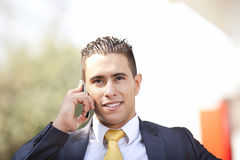 Happy businessman talking at his cellphone Royalty Free Stock Photos