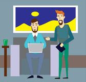 Happy businessman talking with partner while sitting at couch. royalty free illustration