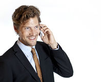 Happy businessman talking Royalty Free Stock Images