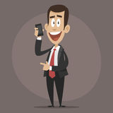 Happy businessman talking on phone Stock Photo