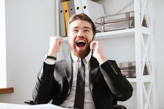 Happy businessman talking by phone and make winner gesture. Image of happy businessman sitting in office while talking by phone and make winner gesture Stock Image