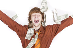 Happy businessman throwing money Stock Photos
