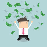 Happy businessman throwing money up Royalty Free Stock Image