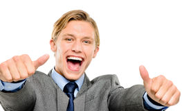 Happy businessman thumbs up isolated on white background Stock Photo