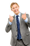 Happy businessman thumbs up isolated on white background Royalty Free Stock Images