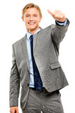 Happy businessman thumbs up isolated on white background Royalty Free Stock Photo