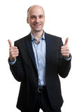 Happy businessman thumbs up sign Stock Images