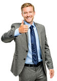 Happy businessman thumbs up sign on white background Royalty Free Stock Photo