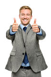 Happy businessman thumbs up sign on white background Stock Photos