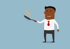 Happy businessman tossing up pancake. Cheerful african american businessman tossing up pancake in frying pan, cartoon style. Success in business concept Stock Photography