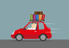 Happy businessman traveling by car Royalty Free Stock Images