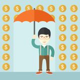 Happy businessman with umbrella Stock Photo