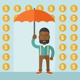 Happy businessman with umbrella Stock Image