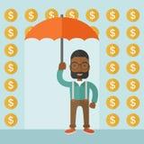 Happy businessman with umbrella Stock Image