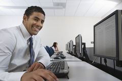 Happy Businessman Using Computer Royalty Free Stock Image