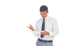 Happy businessman using tablet Stock Image