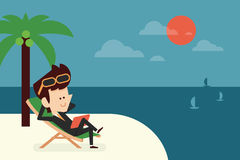 Happy businessman on vacation Royalty Free Stock Image