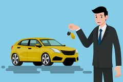 A happy businessman, vehicle seller is standing and holding a key of brand new car for sale. Vector illustration design Royalty Free Stock Images