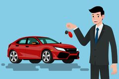 A happy businessman, vehicle seller is standing and holding a key of brand new car for sale. Vector illustration design Royalty Free Stock Photos