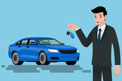 A happy businessman, vehicle seller is standing and holding a key of brand new car for sale. Vector illustration design Royalty Free Stock Image