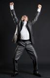Happy businessman is very glad Stock Photos